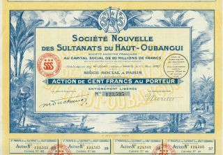 Africa French Colonization Stock Certificate Congo 1927 photo