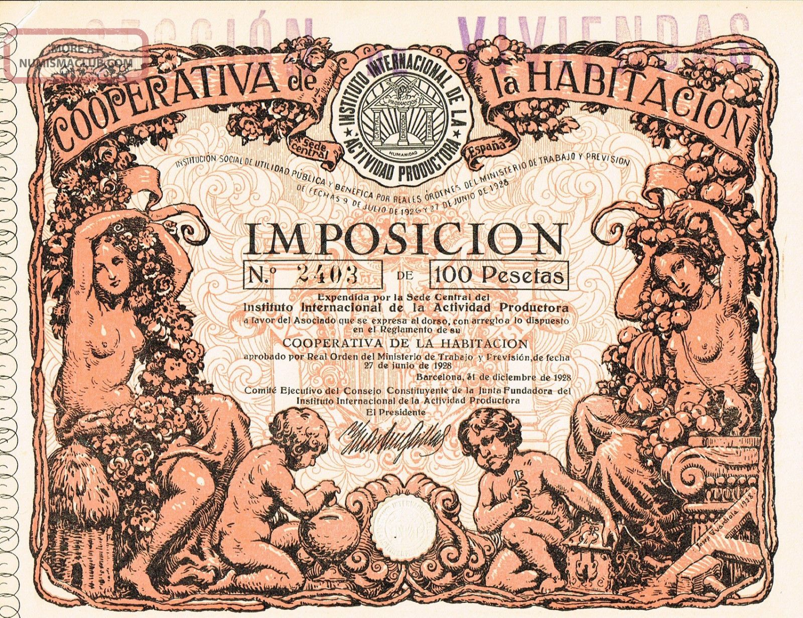 Spain Coopertiva Habitacion Stock Certificate 1928 Taxation World photo