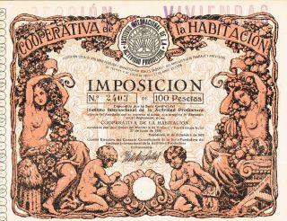 Spain Coopertiva Habitacion Stock Certificate 1928 Taxation photo