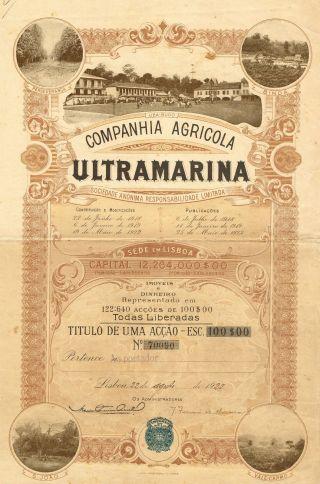 Portugal Ultramarina Agriculture Company Stock Certificate 1922 photo