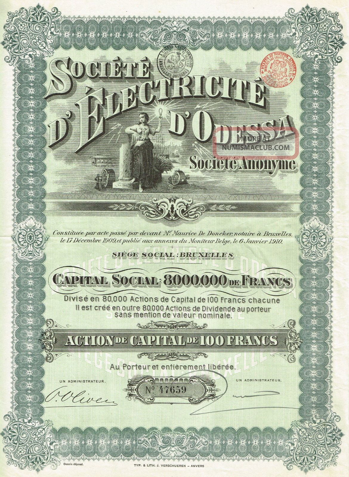 Russia Odessa Electric Co Stock Certificate 1910 Capital 8,  000,  000 World photo