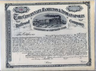 Cincinnati Hamilton & Indianapolis Railroad Company Stock Certificate Ohio photo
