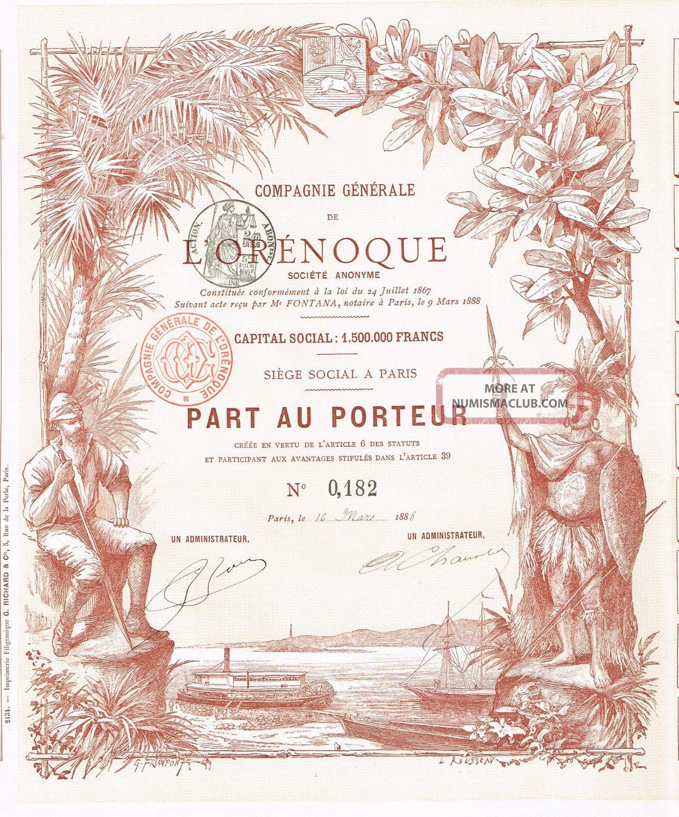 Venezuela Trading Company L ' Orenoque Stock Certificate 1888,  W/coupons World photo
