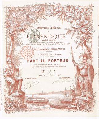 Venezuela Trading Company L ' Orenoque Stock Certificate 1888,  W/coupons photo