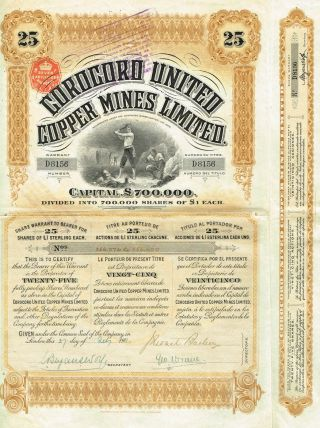Bolivia Corocoro Copper Mines Stock Certificate 1911 25 Sh photo