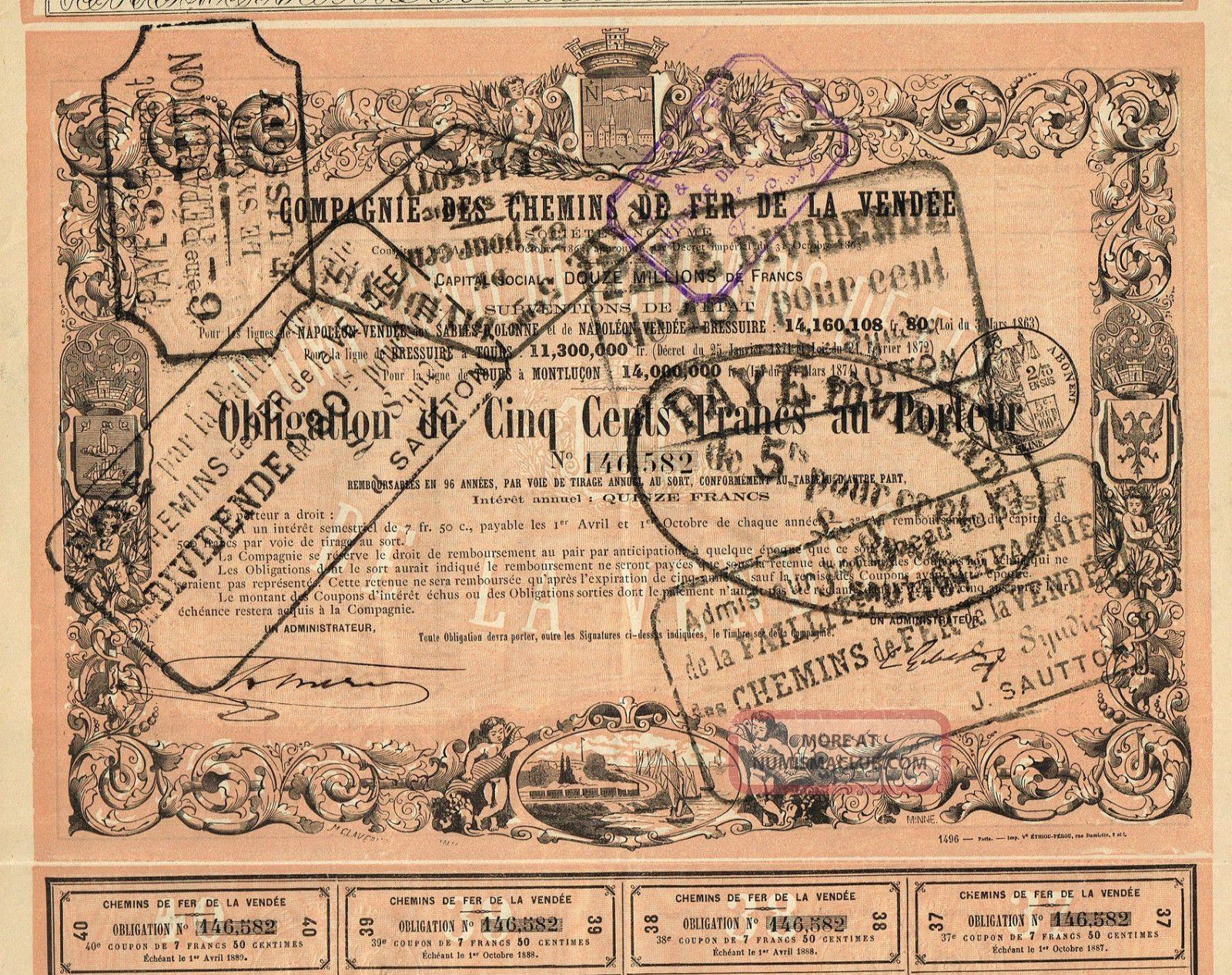 France Vendee Railway Stock Certificate 1863 World photo