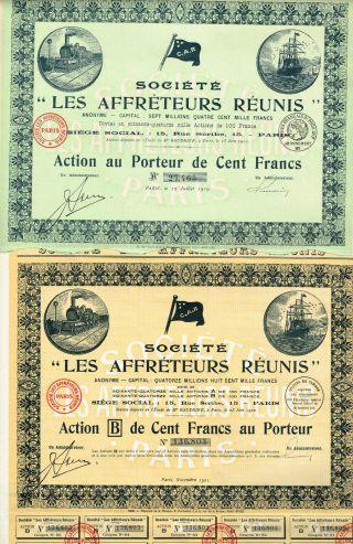 France Transportation Company Stock Certificate X 2 Types photo