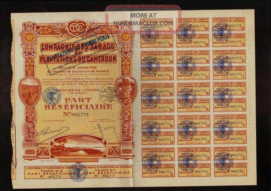 Africa Cameroon Tobacco Comp.  Tabacs Et Plantations Du Cameroun Nyombe 1929 World photo