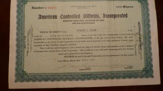 Stock Certificate For American Oil Fields Incorporated,  1928 photo