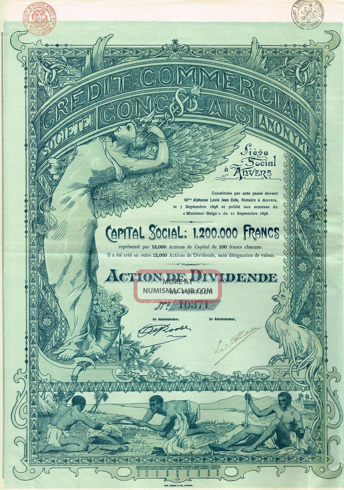 Africa Congo Commercial Credit Stock Certificate 1898 All Coupons. .  Very Rare World photo