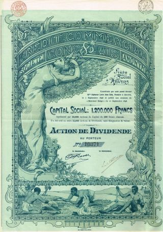 Africa Congo Commercial Credit Stock Certificate 1898 All Coupons. .  Very Rare photo