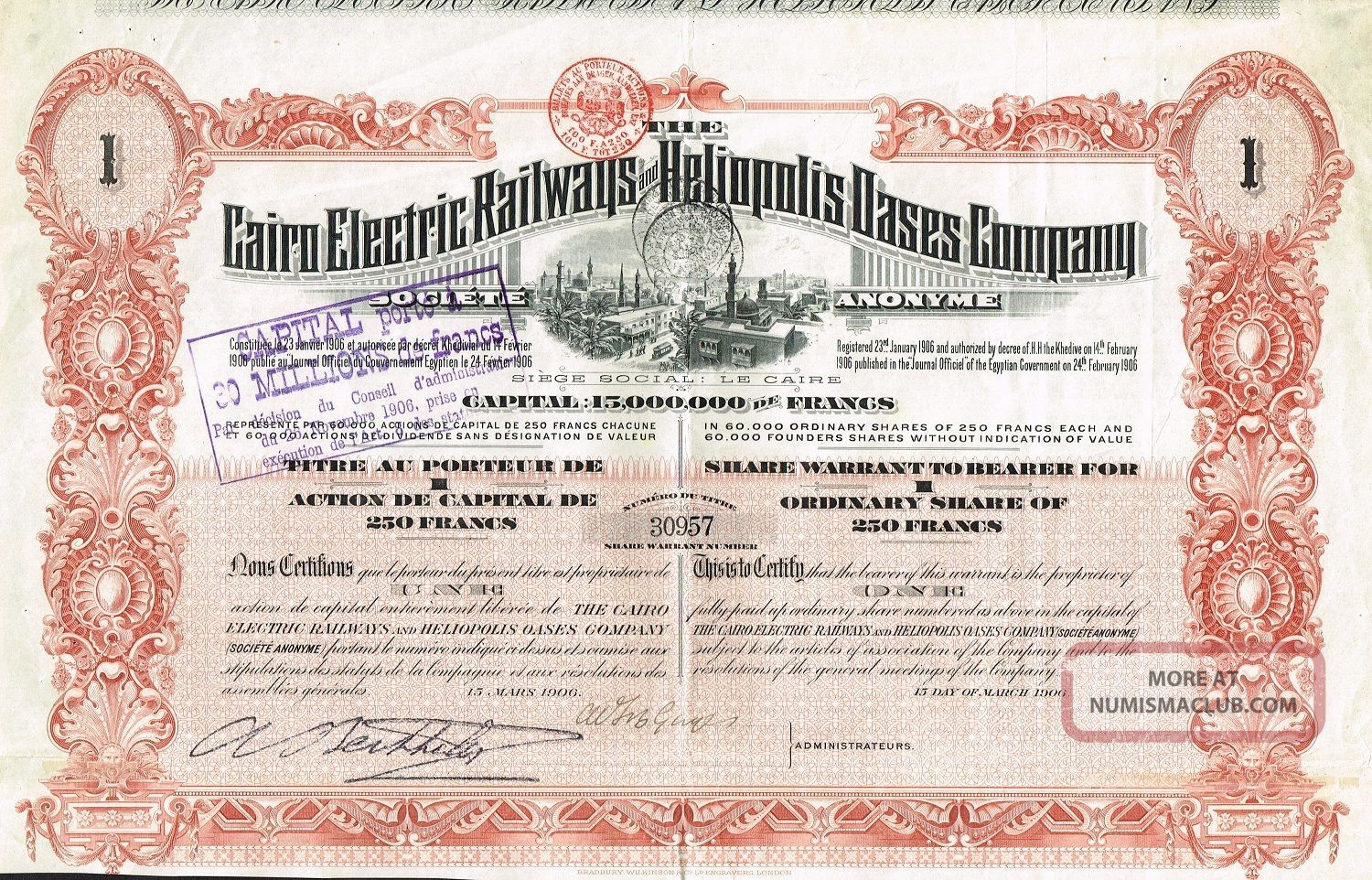 Egypt Cairo Electric Reailways Company Stock Certificate 1906 World photo