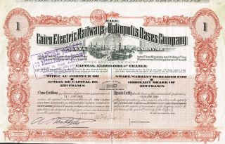 Egypt Cairo Electric Reailways Company Stock Certificate 1906 photo