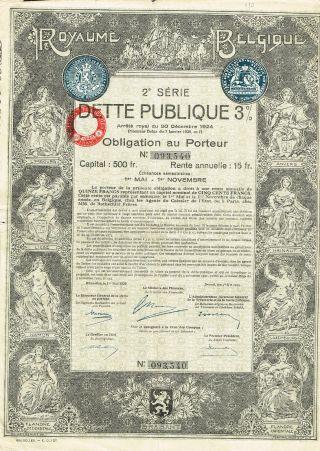 Belgium Public Debt Bond Stock Certificate 1925 photo