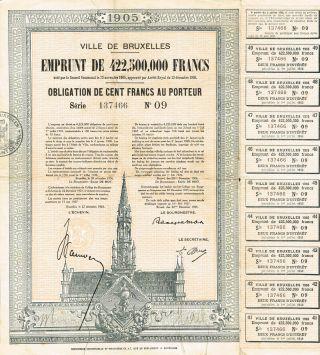 Belgium City Of Brussels 1905 Loan Stock Certificate photo