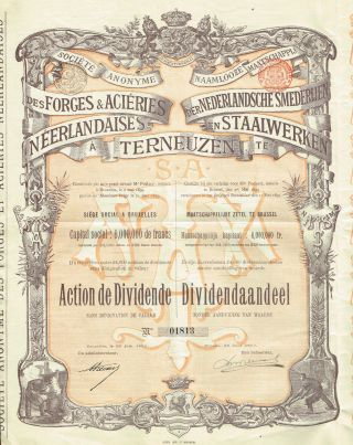 Netherlands Forges And Steel Of Terneuzen Stock Certificate 1899 photo