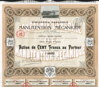 France Mechanical Handling Copmpany Stock Certificate 1905 photo