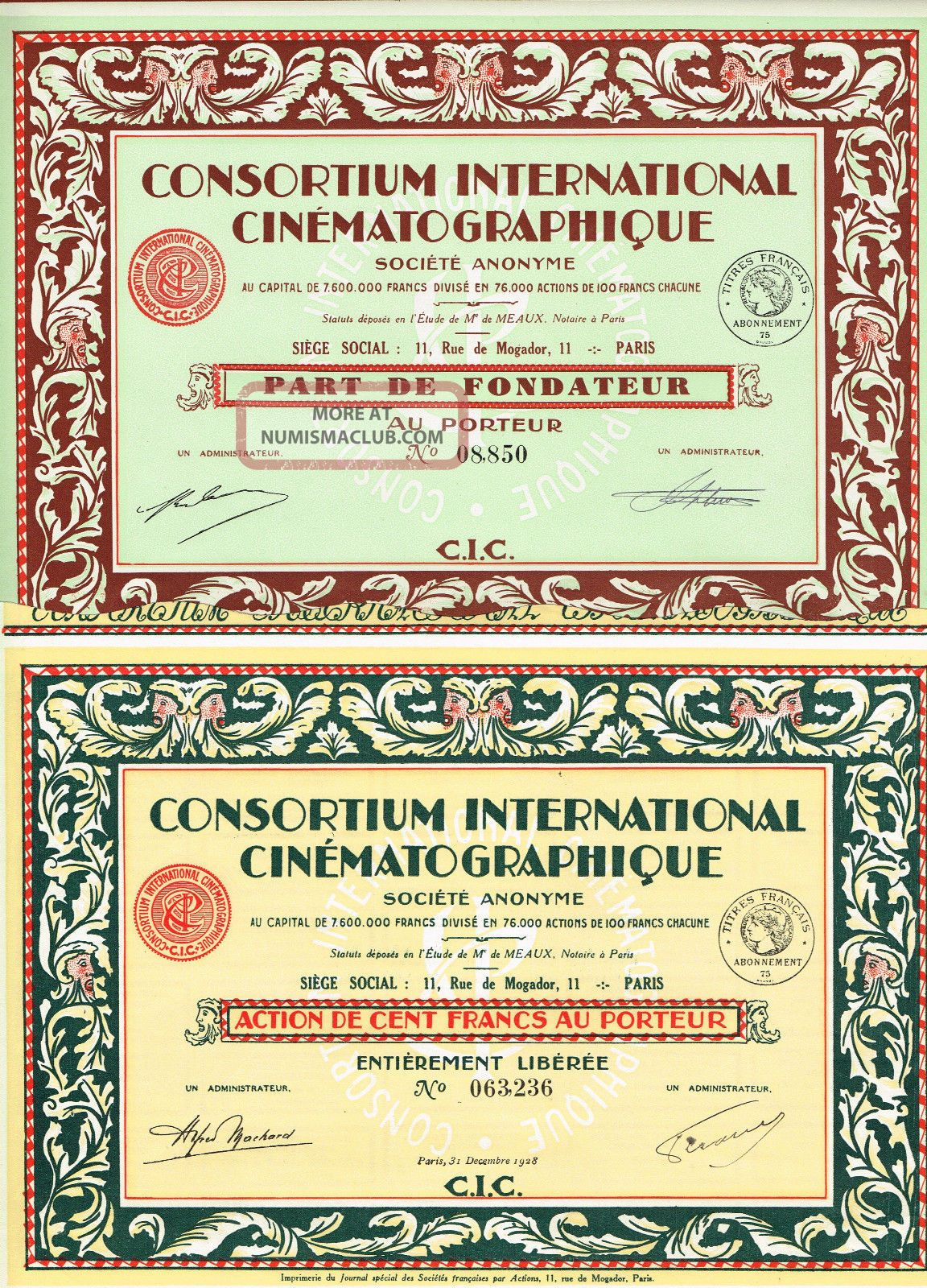 France Cinematography International Consortium Stock Certificate X 2 Types World photo