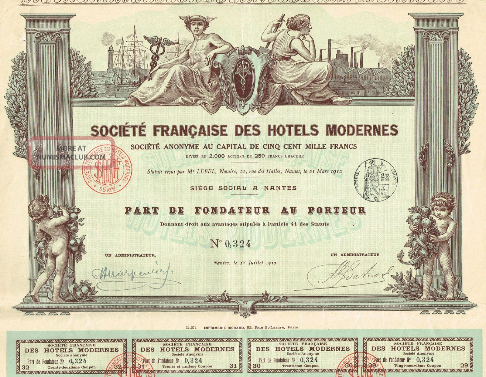 France Society Of Modern Hotels Stock Certificate 1912 World photo