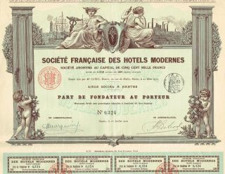 France Society Of Modern Hotels Stock Certificate 1912 photo