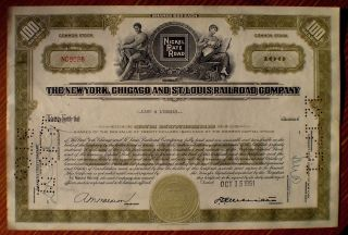 Nickel Plate Railroad; 1951 Stock Certificare,  100 Shares (green), photo