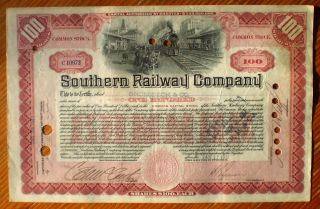 Southern Railroad Co.  1917 Stock Certificare,  Scarce 100 Share (red), photo