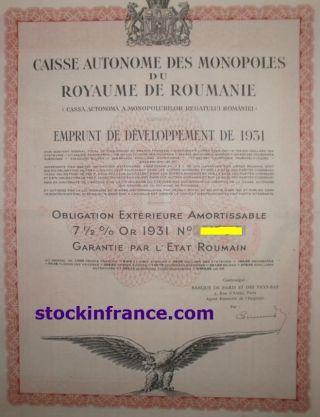 Caisse Autonome Des Monopoles Du Royaume De Roumanie photo
