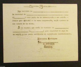 Vintage / Editorial Borinquen / Bond Receipt / 1940 ' S / S.  J.  Puerto Rico photo