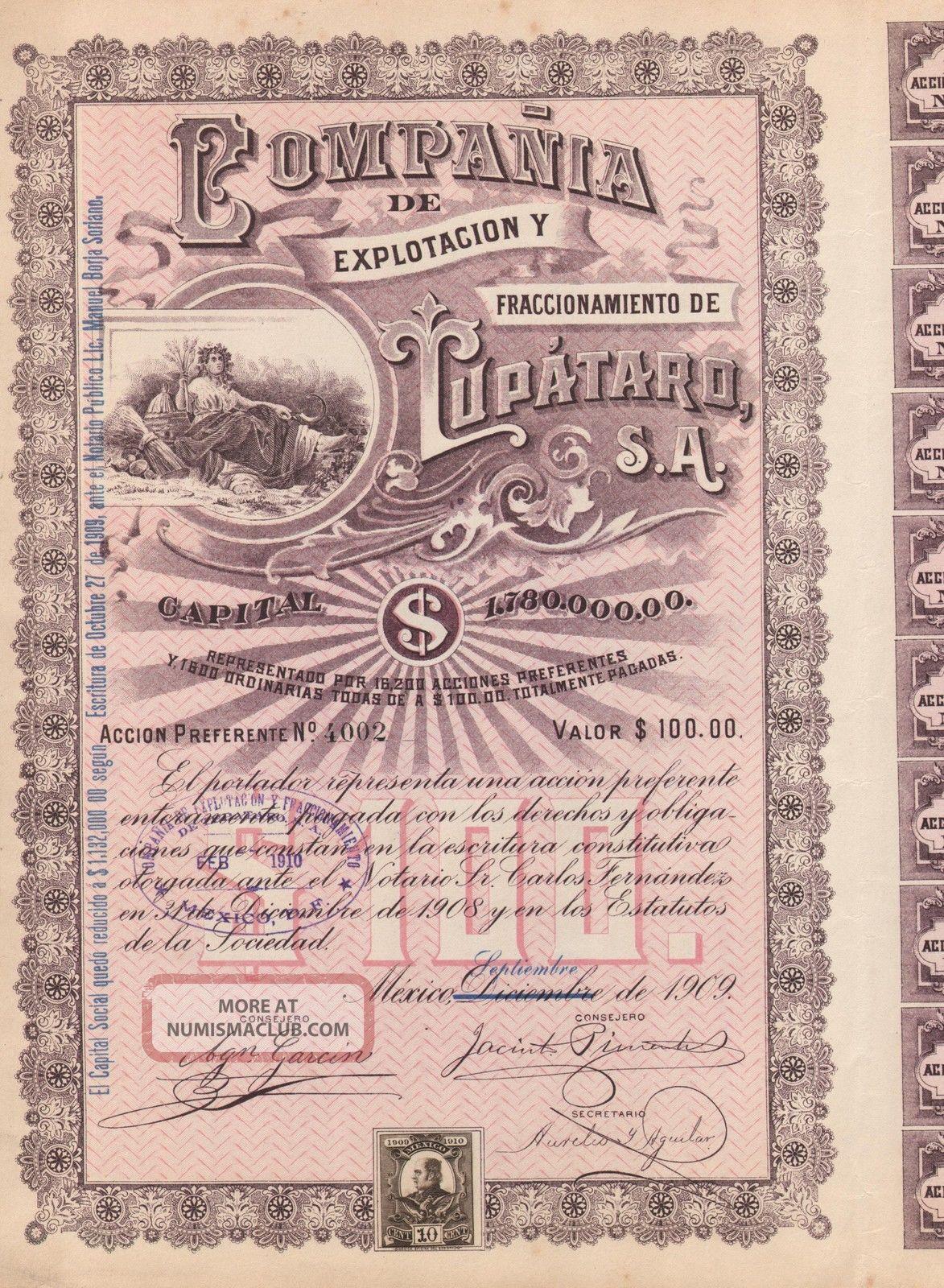 Mexico Compania De Explotacion Lupataro Bond Stock Certificate 1909 W/coupons World photo