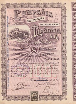 Mexico Compania De Explotacion Lupataro Bond Stock Certificate 1909 W/coupons photo
