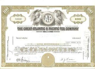 Great Atlantic & Pacific Tea Co Stock Cert,  100 Shares photo