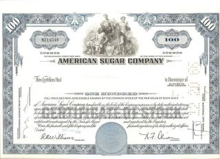 American Sugar Co Stock Certificate,  100 Shares photo