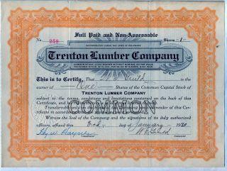 Trenton Lumber Company Stock Certificate photo