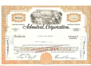 Admiral Corporation Stock Cert,  60 Shares,  From 1970 photo