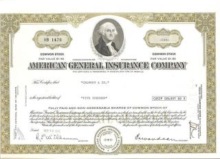 American General Insurance Co Stock Cert,  500 Shares photo