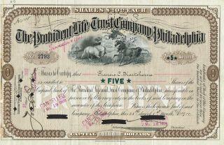 Usa The Provident Life Trust Company Stock Certificate 1910 Philadelphia photo