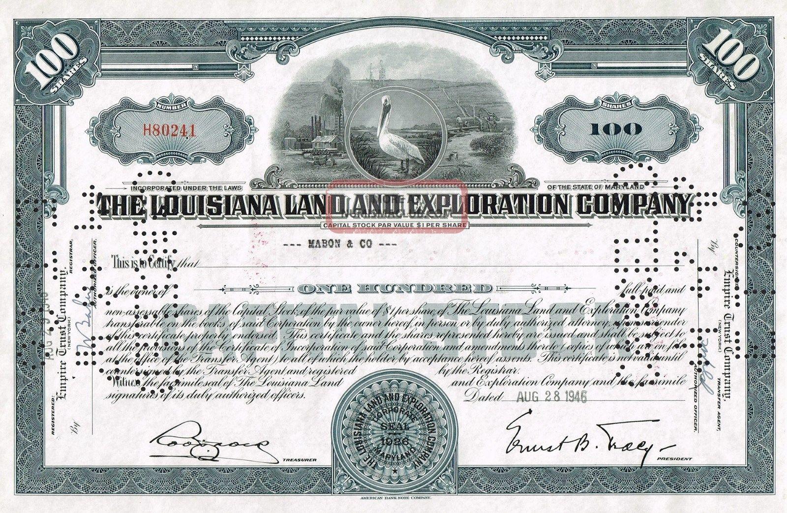 Usa Louisiana Land & Exploration Company Stock Certificate Rare World photo