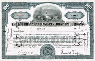 Usa Louisiana Land & Exploration Company Stock Certificate Rare photo