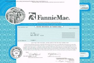 Usa Fannie Mae Stock Certificate Federal National Mortgage Association photo