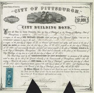 Usa City Of Pittsburgh Building Bond Stock Certificate 1870 photo