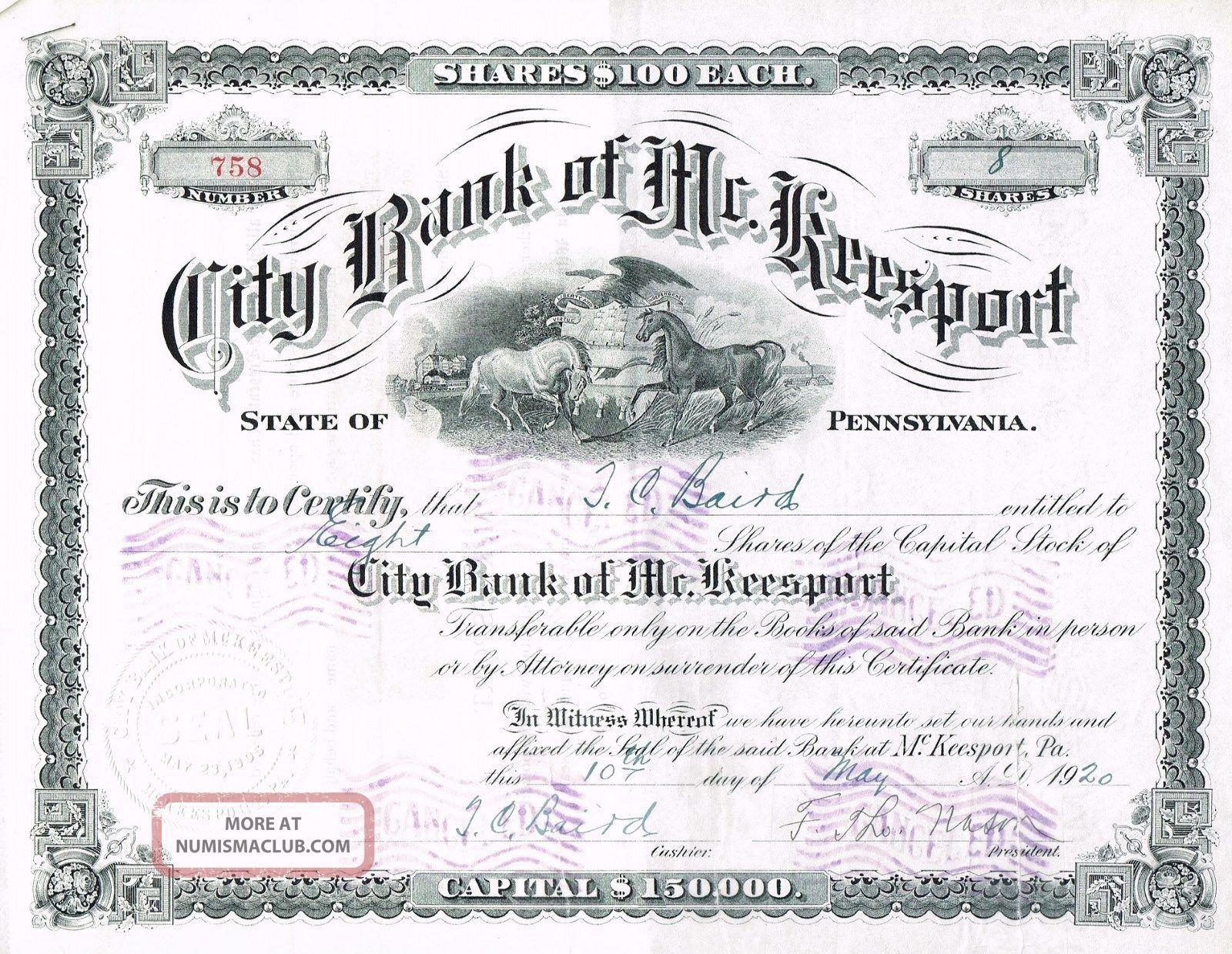 Usa City Bank Of Mckeesport Stock Certificate 1920. . .  Pennsylvania World photo