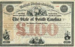 Usa State Of South Carolina Bond Stock Certificate 1871 photo