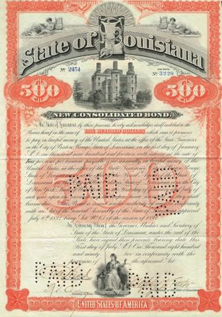 Usa State Of Louisiana Bond Stock Certificate 1892 Signed By Governor photo