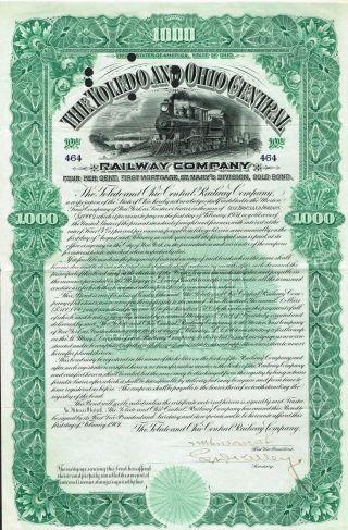 Usa Toledo & Ohio Central Railway Company Gold Bond Stock Certificate 1901 photo