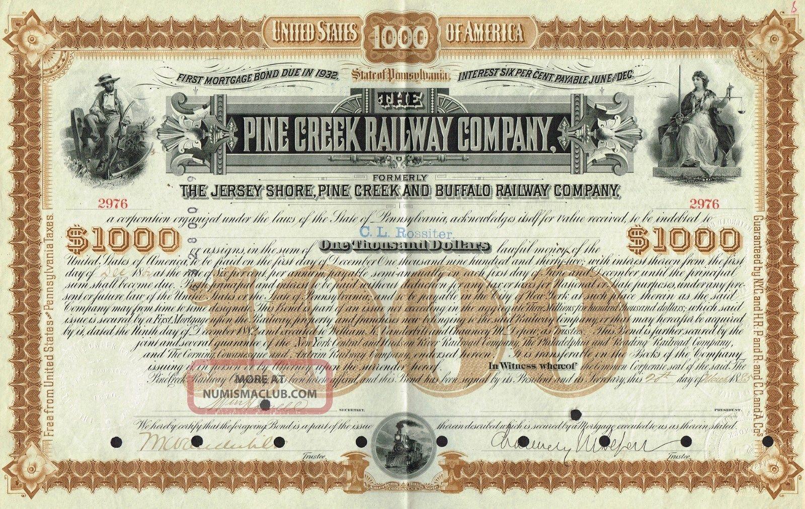 Usa Pine Creek Railway Company Stock Certificate Signed By Vanderbilt & Depew World photo
