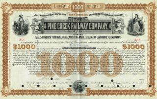 Usa Pine Creek Railway Company Stock Certificate Signed By Vanderbilt & Depew photo