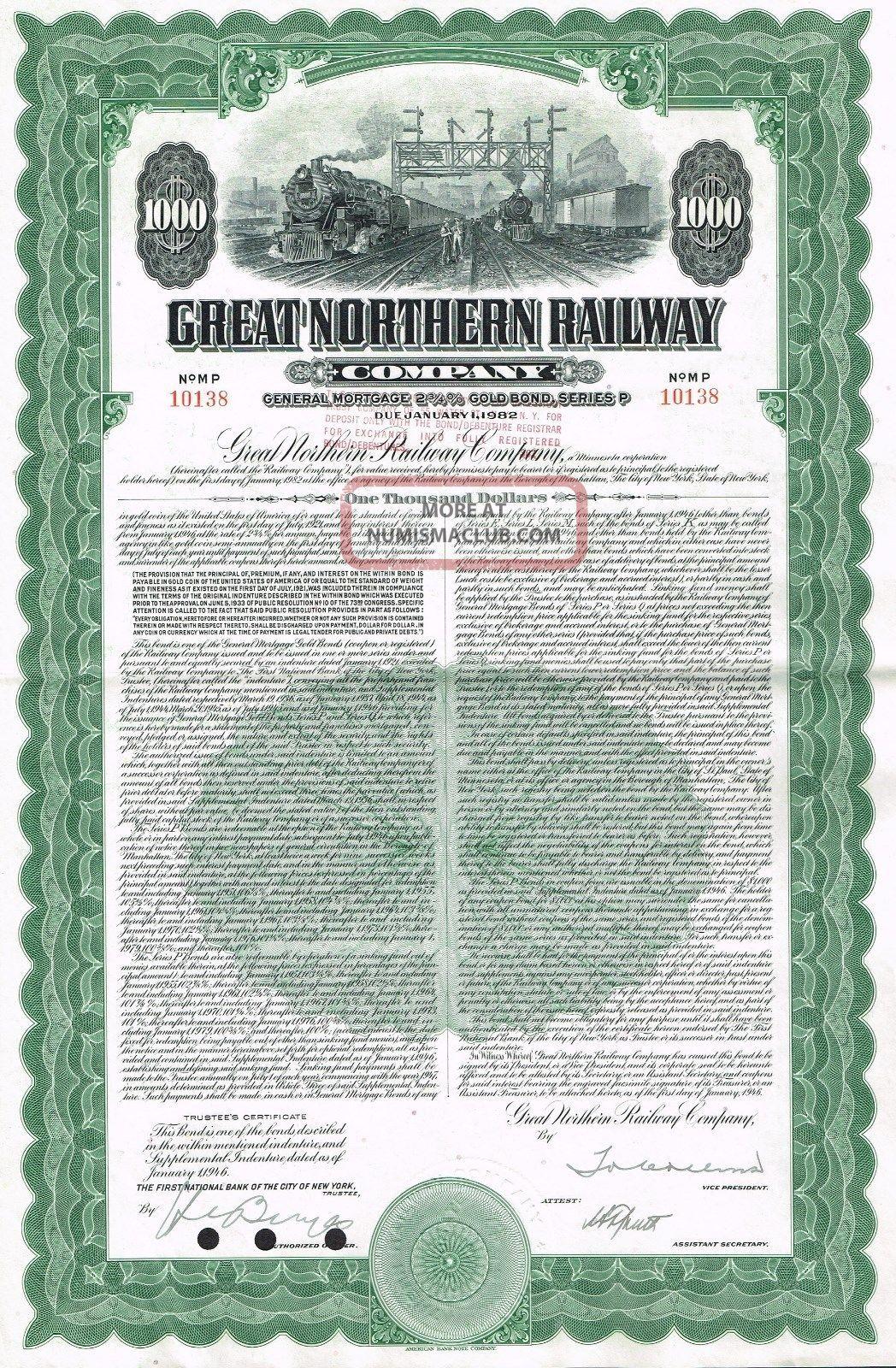 Usa Great Northern Railway Company Gold Bond Stock Certificate World photo