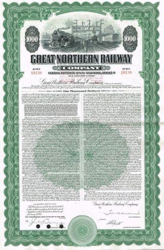 Usa Great Northern Railway Company Gold Bond Stock Certificate photo