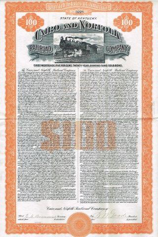 Usa Cairo & Norfolk Railroad Company Gold Bond Stock Certificate 1908 photo
