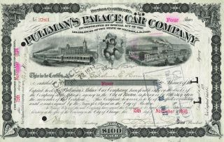 Usa Pullmans Palace Car Company Stock Certificate 1898 photo